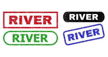 RIVER grunge seal stamps. Flat vector distress seal stamps with RIVER text inside different rectangle and rounded shapes, in blue, red, green, black color variants. Watermarks with unclean style.