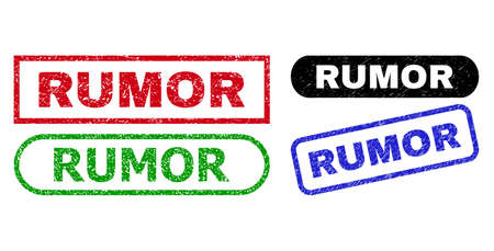 RUMOR grunge seal stamps. Flat vector scratched seal stamps with RUMOR text inside different rectangle and rounded shapes, in blue, red, green, black color variants. Imprints with grunge style. Ilustracja