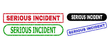 SERIOUS INCIDENT grunge watermarks. Flat vector grunge seals with SERIOUS INCIDENT text inside different rectangle and rounded frames, in blue, red, green, black color variants. Ilustración de vector