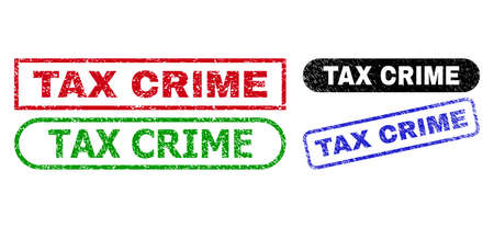 TAX CRIME grunge seal stamps. Flat vector distress watermarks with TAX CRIME text inside different rectangle and rounded shapes, in blue, red, green, black color versions. Illusztráció