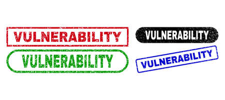 VULNERABILITY grunge stamps. Flat vector distress stamps with VULNERABILITY slogan inside different rectangle and rounded frames, in blue, red, green, black color variants.