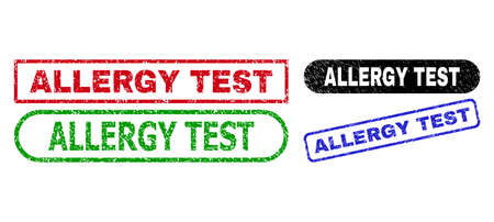 ALLERGY TEST grunge watermarks. Flat vector distress stamps with ALLERGY TEST slogan inside different rectangle and rounded shapes, in blue, red, green, black color variants.