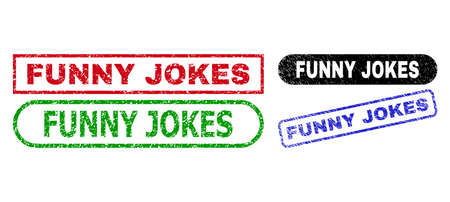 FUNNY JOKES grunge stamps. Flat vector scratched stamps with FUNNY JOKES text inside different rectangle and rounded frames, in blue, red, green, black color variants.