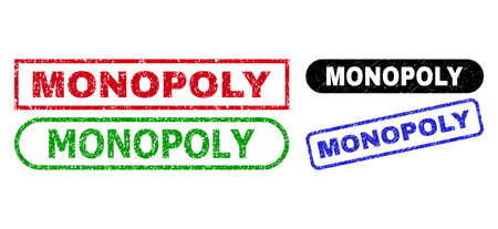 MONOPOLY grunge seal stamps. Flat vector grunge seal stamps with MONOPOLY title inside different rectangle and rounded forms, in blue, red, green, black color variants.