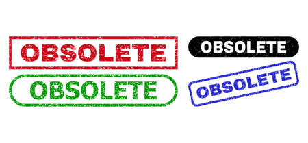 OBSOLETE grunge seals. Flat vector grunge watermarks with OBSOLETE title inside different rectangle and rounded forms, in blue, red, green, black color versions. Watermarks with grunge texture.