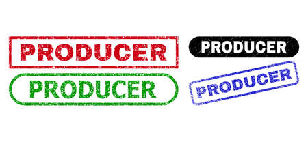 PRODUCER grunge seal stamps. Flat vector grunge seal stamps with PRODUCER message inside different rectangle and rounded forms, in blue, red, green, black color versions. Imprints with grunge texture.