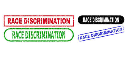 RACE DISCRIMINATION grunge seal stamps. Flat vector scratched stamps with RACE DISCRIMINATION tag inside different rectangle and rounded forms, in blue, red, green, black color versions.