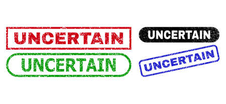 UNCERTAIN grunge seal stamps. Flat vector grunge seals with UNCERTAIN title inside different rectangle and rounded frames, in blue, red, green, black color versions. Imprints with grunge surface.