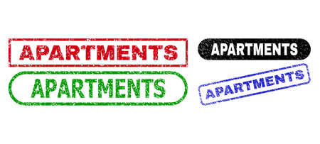 APARTMENTS grunge watermarks. Flat vector grunge watermarks with APARTMENTS slogan inside different rectangle and rounded forms, in blue, red, green, black color versions.