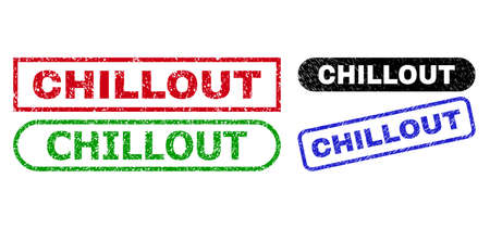 CHILLOUT grunge seals. Flat vector distress seals with CHILLOUT text inside different rectangle and rounded frames, in blue, red, green, black color versions. Rubber imitations with grunge style.