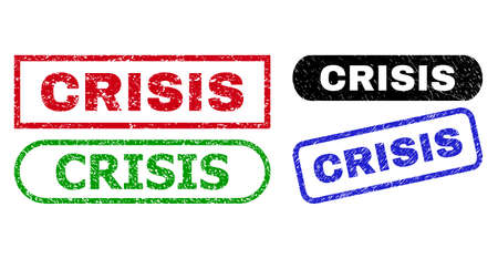 CRISIS grunge watermarks. Flat vector grunge watermarks with CRISIS message inside different rectangle and rounded frames, in blue, red, green, black color versions. Watermarks with scratched surface.