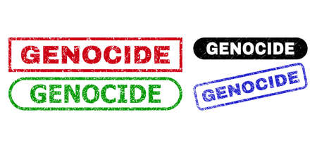 GENOCIDE grunge watermarks. Flat vector distress watermarks with GENOCIDE tag inside different rectangle and rounded shapes, in blue, red, green, black color versions. Imprints with grunge style.