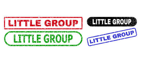 LITTLE GROUP grunge seals. Flat vector grunge seals with LITTLE GROUP text inside different rectangle and rounded frames, in blue, red, green, black color versions. Imprints with distress style.