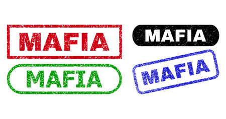 MAFIA grunge seal stamps. Flat vector grunge seal stamps with MAFIA tag inside different rectangle and rounded shapes, in blue, red, green, black color versions. Watermarks with unclean style.