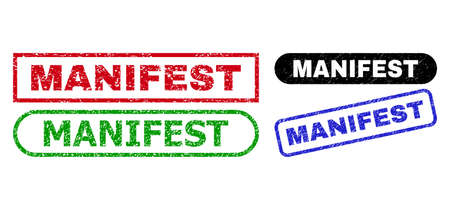 MANIFEST grunge seals. Flat vector grunge seals with MANIFEST caption inside different rectangle and rounded frames, in blue, red, green, black color versions. Watermarks with unclean style.