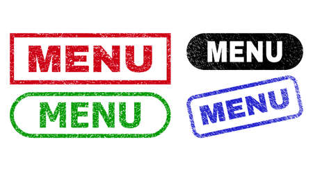 MENU grunge stamps. Flat vector distress seal stamps with MENU phrase inside different rectangle and rounded shapes, in blue, red, green, black color variants. Imprints with grunge texture.