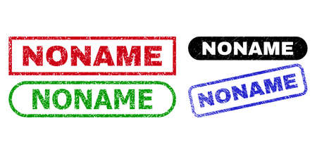 NONAME grunge watermarks. Flat vector grunge watermarks with NONAME text inside different rectangle and rounded forms, in blue, red, green, black color variants. Watermarks with unclean texture.