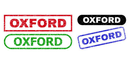 OXFORD grunge seal stamps. Flat vector grunge seal stamps with OXFORD tag inside different rectangle and rounded shapes, in blue, red, green, black color versions. Watermarks with corroded surface. 矢量图像