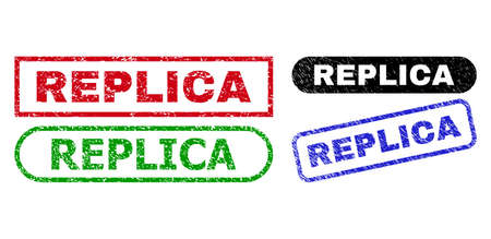 REPLICA grunge watermarks. Flat vector grunge watermarks with REPLICA caption inside different rectangle and rounded forms, in blue, red, green, black color versions. Imprints with unclean texture.