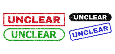 UNCLEAR grunge stamps. Flat vector textured watermarks with UNCLEAR phrase inside different rectangle and rounded shapes, in blue, red, green, black color versions. Imprints with grunge surface.
