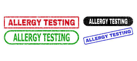 ALLERGY TESTING grunge watermarks. Flat vector distress watermarks with ALLERGY TESTING slogan inside different rectangle and rounded shapes, in blue, red, green, black color versions.