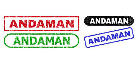 ANDAMAN grunge seal stamps. Flat vector scratched seal stamps with ANDAMAN phrase inside different rectangle and rounded forms, in blue, red, green, black color versions. Imprints with corroded style.
