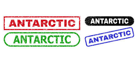 ANTARCTIC grunge watermarks. Flat vector grunge watermarks with ANTARCTIC slogan inside different rectangle and rounded frames, in blue, red, green, black color versions.