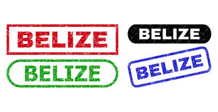 BELIZE grunge seal stamps. Flat vector grunge seal stamps with BELIZE title inside different rectangle and rounded frames, in blue, red, green, black color variants.