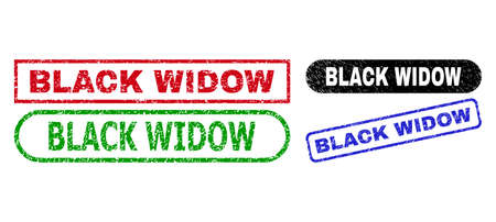 BLACK WIDOW grunge watermarks. Flat vector grunge seals with BLACK WIDOW message inside different rectangle and rounded forms, in blue, red, green, black color versions.