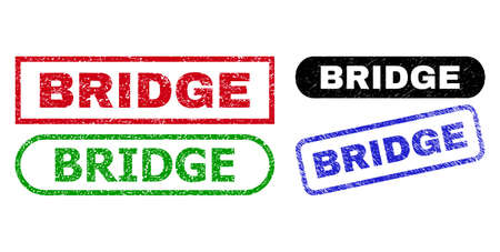 BRIDGE grunge seal stamps. Flat vector distress seal stamps with BRIDGE tag inside different rectangle and rounded frames, in blue, red, green, black color variants. Watermarks with distress style.