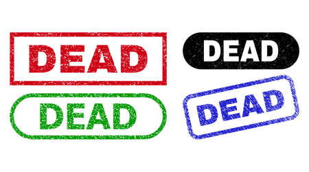 DEAD grunge seal stamps. Flat vector distress seal stamps with DEAD message inside different rectangle and rounded forms, in blue, red, green, black color versions. Vetores