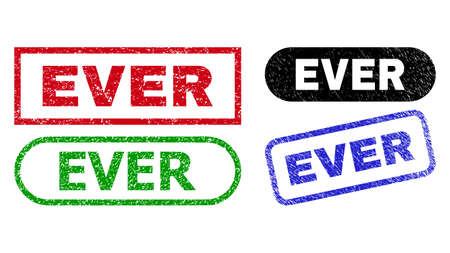 EVER grunge seals. Flat vector distress seals with EVER caption inside different rectangle and rounded forms, in blue, red, green, black color versions. Watermarks with grunge texture.