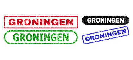GRONINGEN grunge watermarks. Flat vector scratched seals with GRONINGEN caption inside different rectangle and rounded frames, in blue, red, green, black color variants. Watermarks with grunge style.