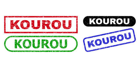 KOUROU grunge seals. Flat vector textured seals with KOUROU caption inside different rectangle and rounded shapes, in blue, red, green, black color versions. Imprints with grunge style.