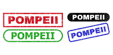 POMPEII grunge seals. Flat vector grunge watermarks with POMPEII title inside different rectangle and rounded forms, in blue, red, green, black color variants. Watermarks with scratched texture. Vettoriali