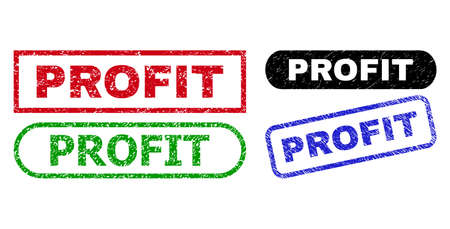 PROFIT grunge seal stamps. Flat vector textured seal stamps with PROFIT text inside different rectangle and rounded shapes, in blue, red, green, black color versions. Watermarks with unclean surface.