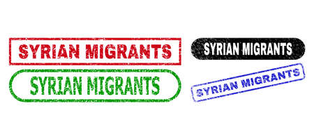 SYRIAN MIGRANTS grunge seal stamps. Flat vector grunge stamps with SYRIAN MIGRANTS caption inside different rectangle and rounded forms, in blue, red, green, black color variants.