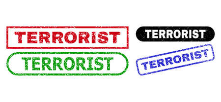 TERRORIST grunge watermarks. Flat vector grunge watermarks with TERRORIST caption inside different rectangle and rounded shapes, in blue, red, green, black color versions. Vectores