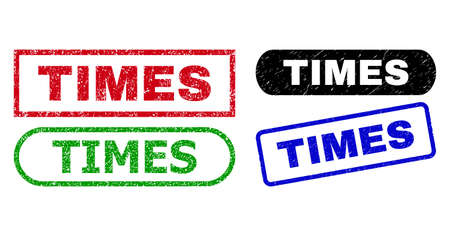 TIMES grunge seals. Flat vector grunge seals with TIMES title inside different rectangle and rounded frames, in blue, red, green, black color variants. Watermarks with unclean style.