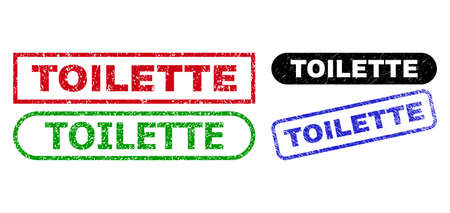 TOILETTE grunge seal stamps. Flat vector grunge stamps with TOILETTE title inside different rectangle and rounded frames, in blue, red, green, black color variants. Imprints with grunge texture.