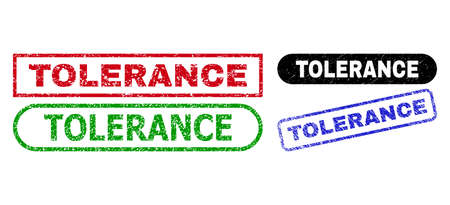 TOLERANCE grunge seals. Flat vector scratched seals with TOLERANCE title inside different rectangle and rounded frames, in blue, red, green, black color variants. Imprints with scratched surface.