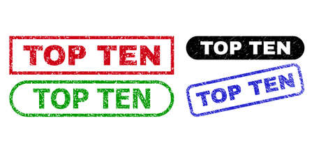 TOP TEN grunge seal stamps. Flat vector scratched watermarks with TOP TEN title inside different rectangle and rounded forms, in blue, red, green, black color versions.