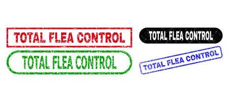 TOTAL FLEA CONTROL grunge watermarks. Flat vector textured watermarks with TOTAL FLEA CONTROL caption inside different rectangle and rounded forms, in blue, red, green, black color variants. Ilustração