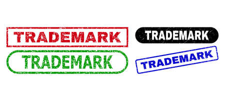 TRADEMARK grunge seal stamps. Flat vector distress seal stamps with TRADEMARK text inside different rectangle and rounded forms, in blue, red, green, black color variants.