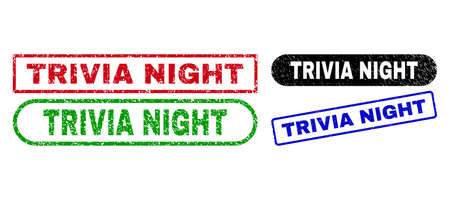 TRIVIA NIGHT grunge seal stamps. Flat vector distress seal stamps with TRIVIA NIGHT tag inside different rectangle and rounded forms, in blue, red, green, black color versions.