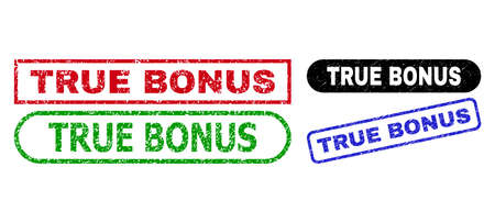 TRUE BONUS grunge stamps. Flat vector grunge stamps with TRUE BONUS caption inside different rectangle and rounded shapes, in blue, red, green, black color versions. Imprints with unclean surface.