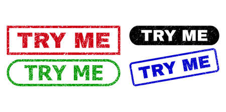 TRY ME grunge stamps. Flat vector grunge stamps with TRY ME message inside different rectangle and rounded shapes, in blue, red, green, black color variants. Watermarks with grunge style.
