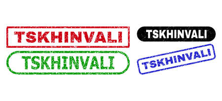 TSKHINVALI grunge seal stamps. Flat vector grunge stamps with TSKHINVALI tag inside different rectangle and rounded shapes, in blue, red, green, black color versions. Imprints with grunge texture.