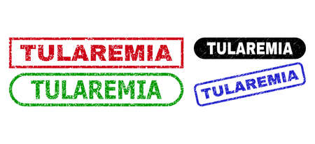 TULAREMIA grunge seal stamps. Flat vector scratched seal stamps with TULAREMIA tag inside different rectangle and rounded frames, in blue, red, green, black color versions. Ilustração