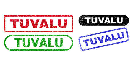 TUVALU grunge watermarks. Flat vector grunge seals with TUVALU phrase inside different rectangle and rounded shapes, in blue, red, green, black color versions. Watermarks with grunge surface.